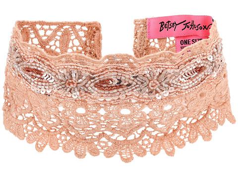 Betsey Johnson Beaded Lace Choker w/ Ties - Blush