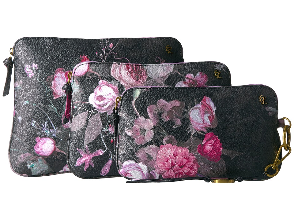 Elliott Lucca - Artisan Three-Piece Cosmetic (Black Rose Floral) Cosmetic Case