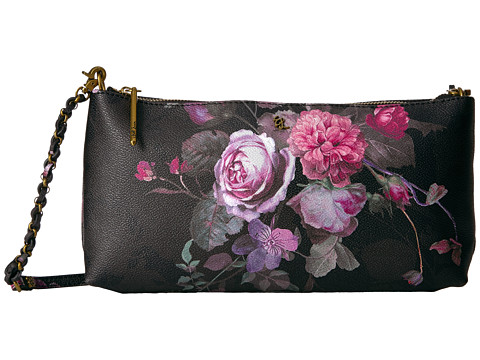 Elliott Lucca Artisan 3 Way Demi Clutch - Black Rose Floral