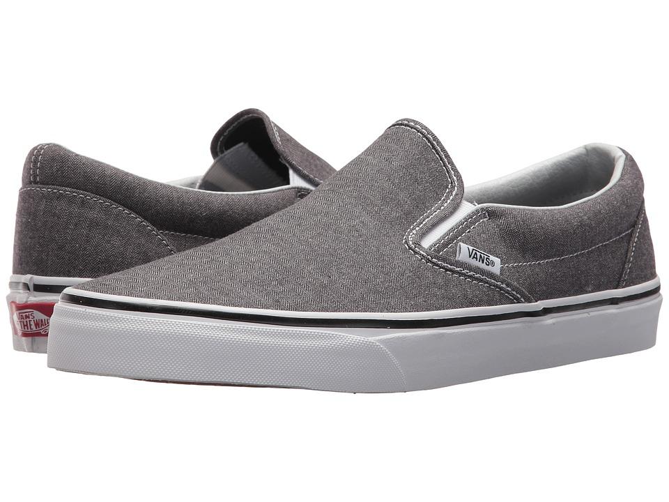 Vans Classic Slip-Ontm ((Micro Herringbone) Black/True White) Skate Shoes