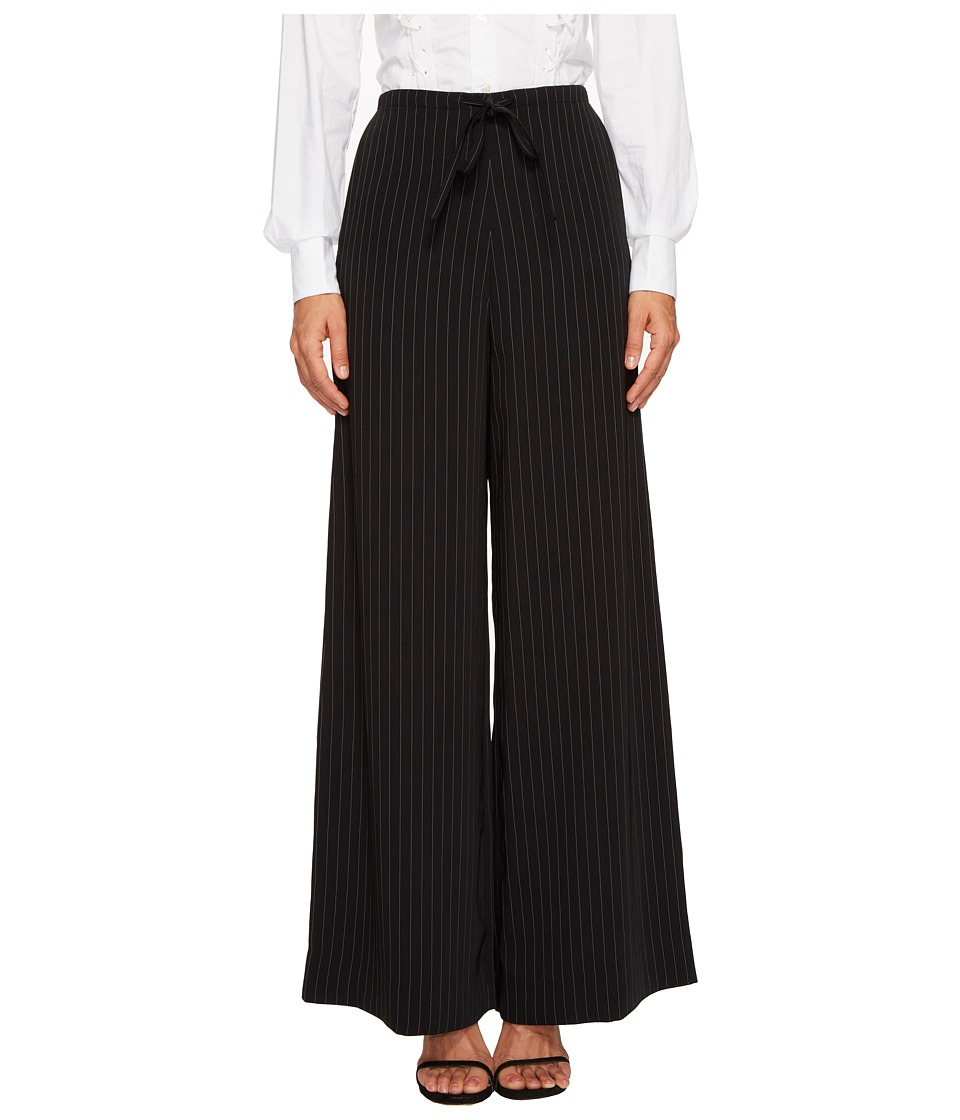 McQ Long Casual Soft Pinstripe Pants (Darkest Black) Wome...