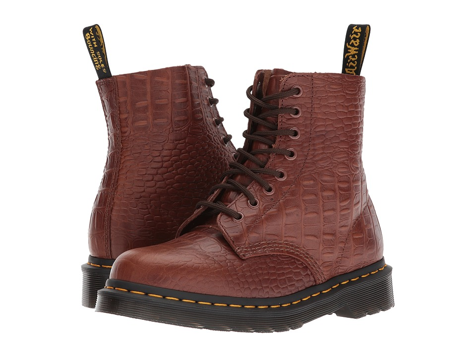 Dr. Martens Pascal Croc 8-Eye Boot (Dark Brown/New Vibrance Croco) Women