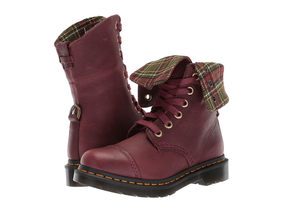 Dr. Martens - Aimilita 9-Eye Toe Cap Boot (Cherry Red Grizzly/DMS Tartan Khaki Wool) Womens Lace-up Boots
