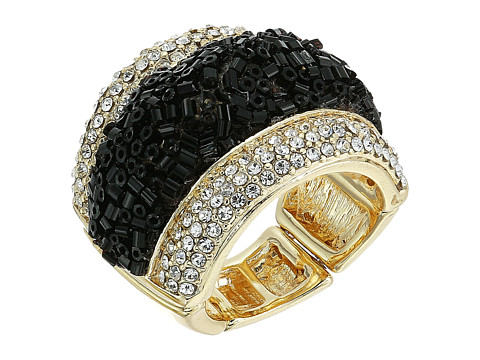 GUESS Crushed Stone with Pave Ring - Gold/Jet/Crystal