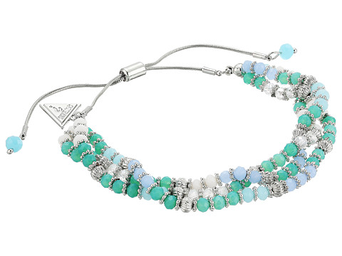 GUESS Triple Row Bead Slider Bracelet - Silver/Aqua/Crystal