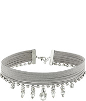 GUESS - Multi Row Fabric Choker with Stone Drop Necklace