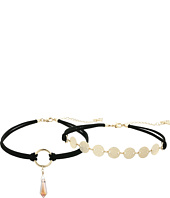 GUESS - Multi Row Choker with Disc Chain and Crystal Drop Necklace