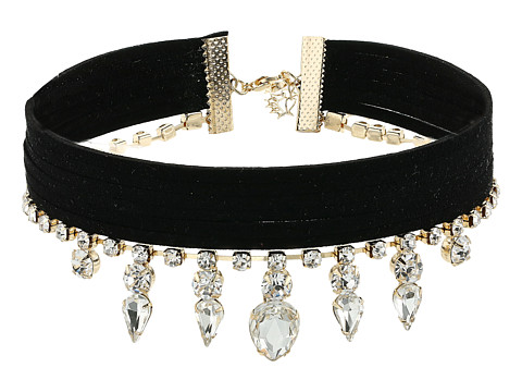 GUESS Multi Row Fabric Choker with Stone Drop Necklace - Gold/Jet/Crystal
