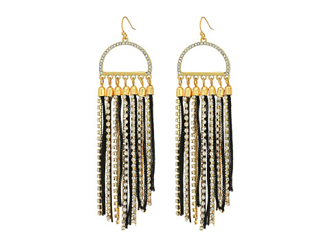 GUESS Mixed Chain Fringe Drop Earring - Gold/Jet/Crystal