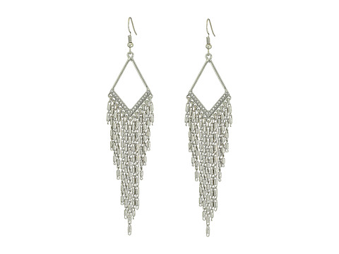 GUESS Cascade Drop Chain Earrings - Silver/Crystal