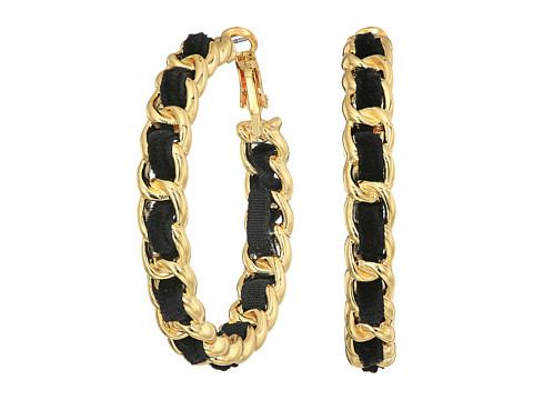 GUESS Frozen Chain Woven Hoop Earrings - Gold/Jet