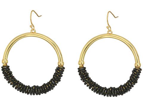 GUESS Half Wrapped Hoop Drop Earrings - Gold/Jet