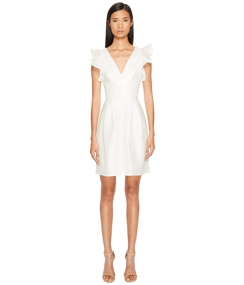 Marchesa Notte Striped Neoprene V-Neck A-Line Cocktail Dress (Ivory) Women
