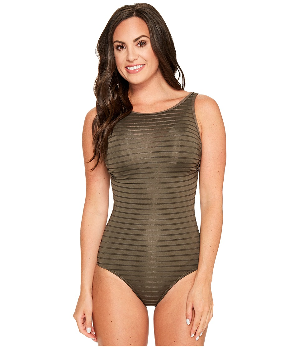 JETS by Jessika Allen - Parallels High Neck Overlay One-Piece Swimsuit