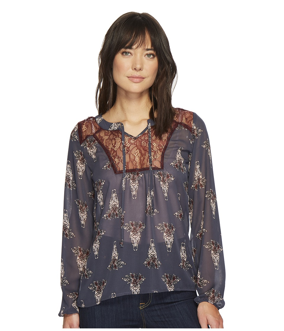 Cruel Embroidered Peasant Sleeve Blouse (Navy) Women