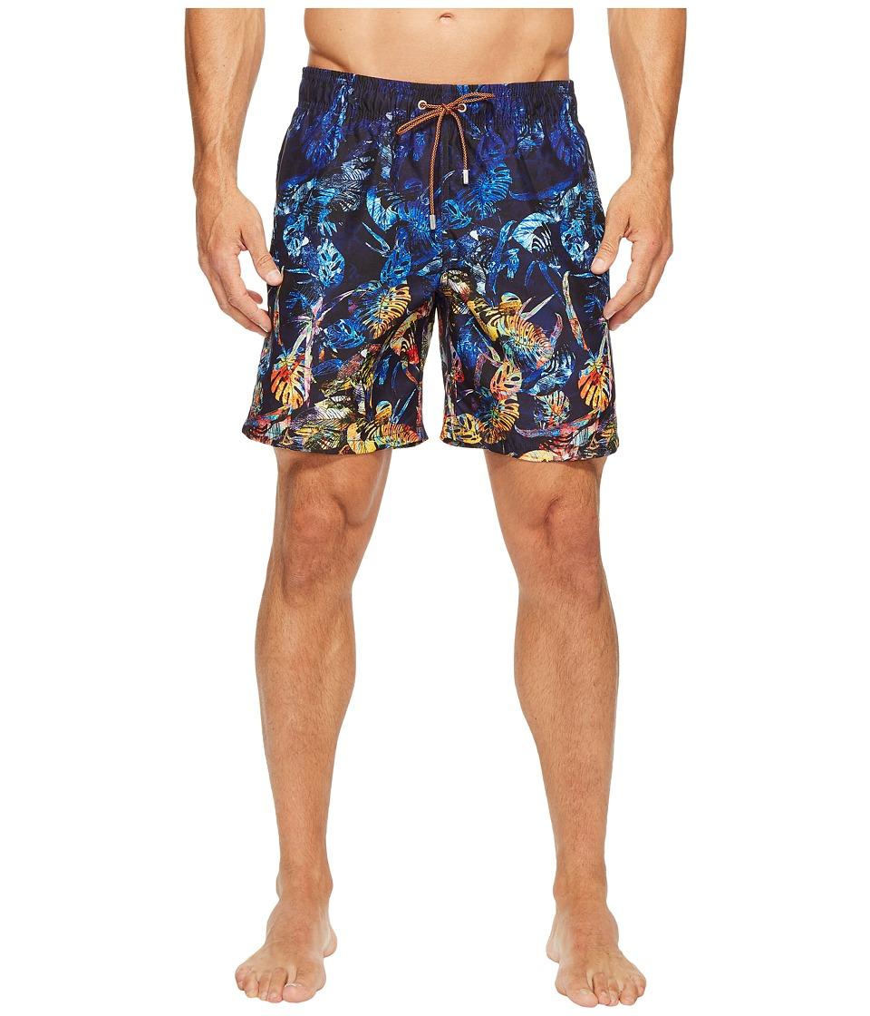 Bugatchi Tropical Paradise Swim Trunks (Night Blue) Men's...