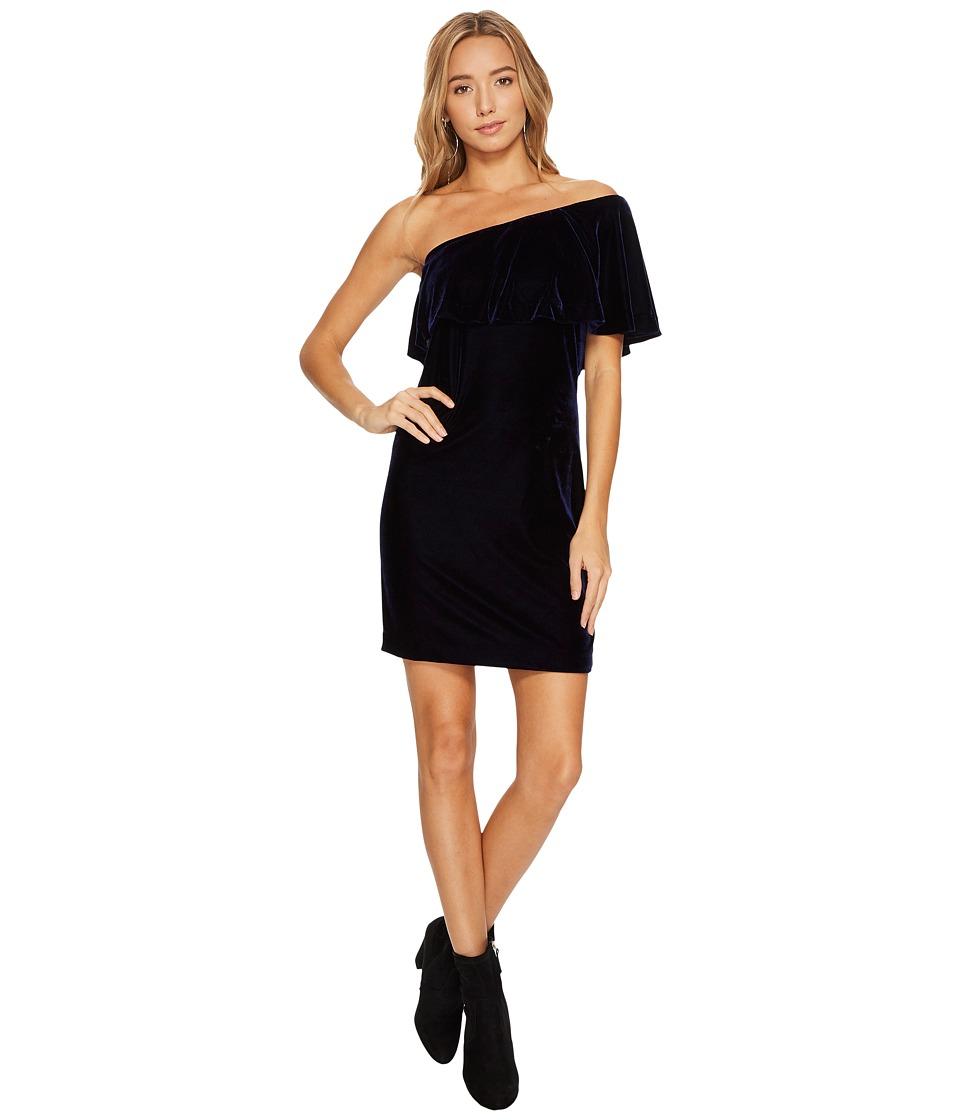 kensie Velvet One Shoulder Dress KSNK8266 (Classic Navy) Women