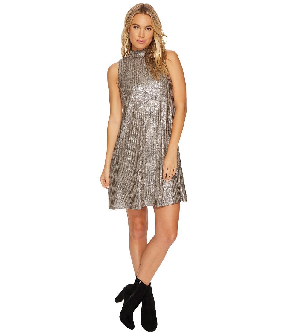 kensie Foiled Rib Shift Dress KSNK9889 (Silver Combo) Women