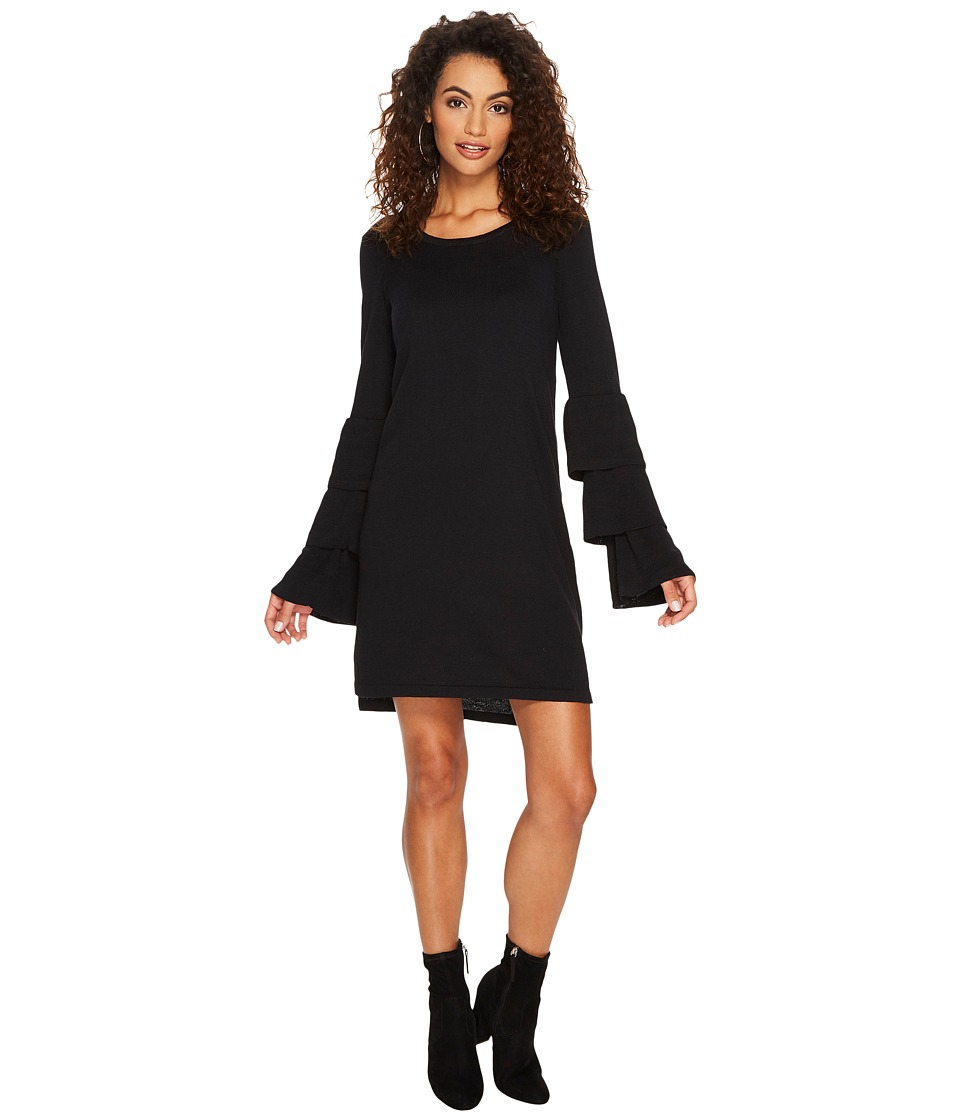 kensie Soft Sweater Dress with Ruffle Sleeve KSNK8151 (Black) Women