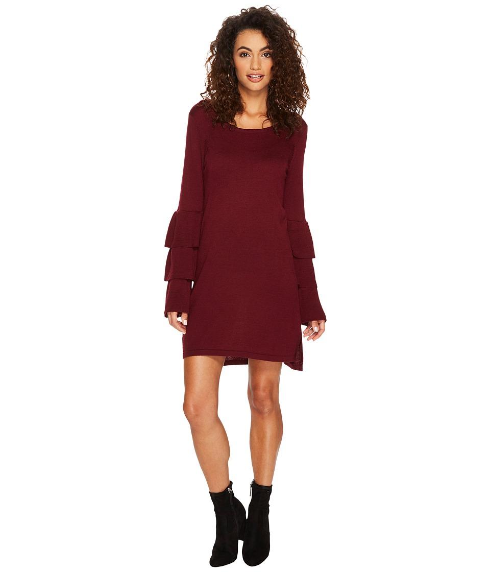 kensie Soft Sweater Dress with Ruffle Sleeve KSNK8151 (Cherrywood) Women
