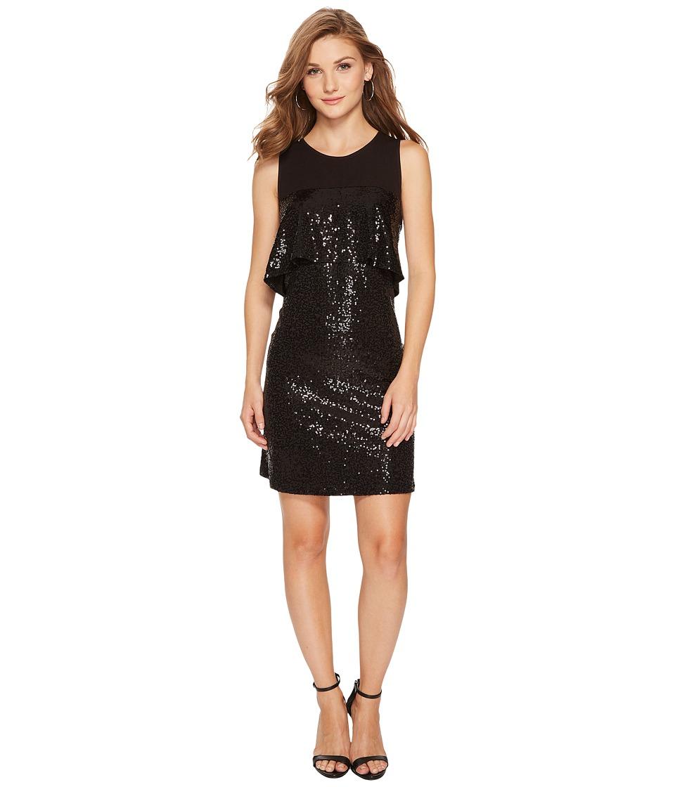 kensie Sequin Jersey Dress KSNK9882 (Black) Women