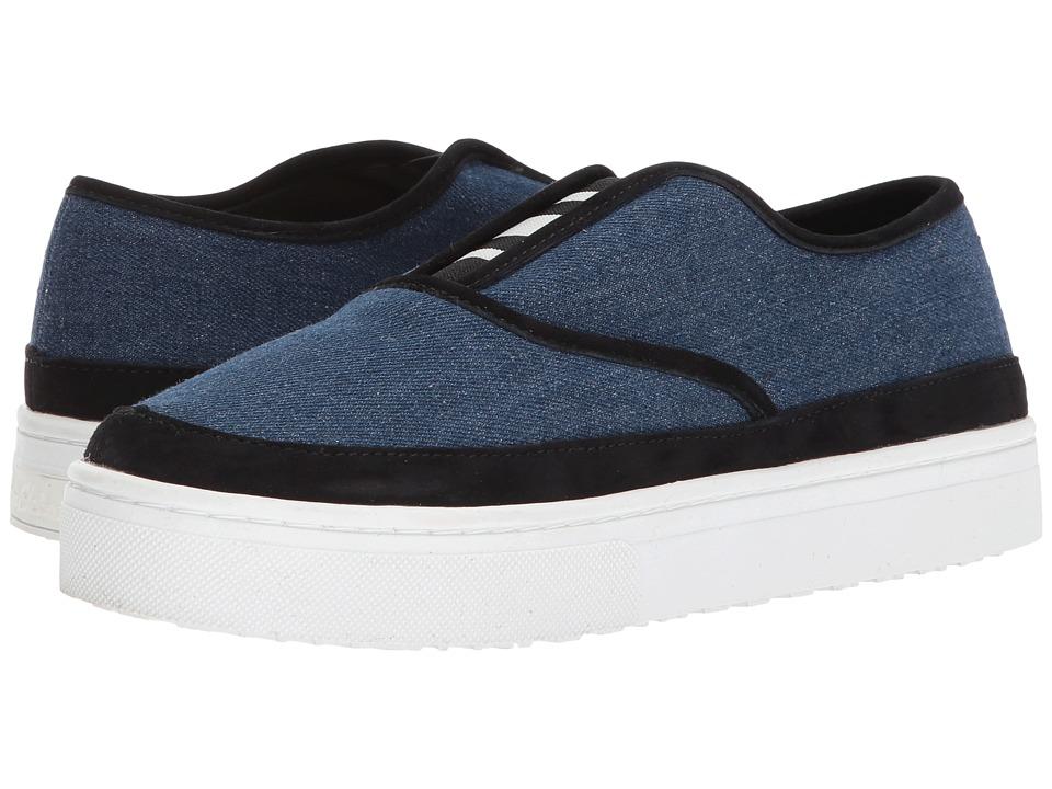Sam Edelman - Landry (Dark Denim/Black Denim Fabric/Kid Suede Leather) Womens Slip on  Shoes