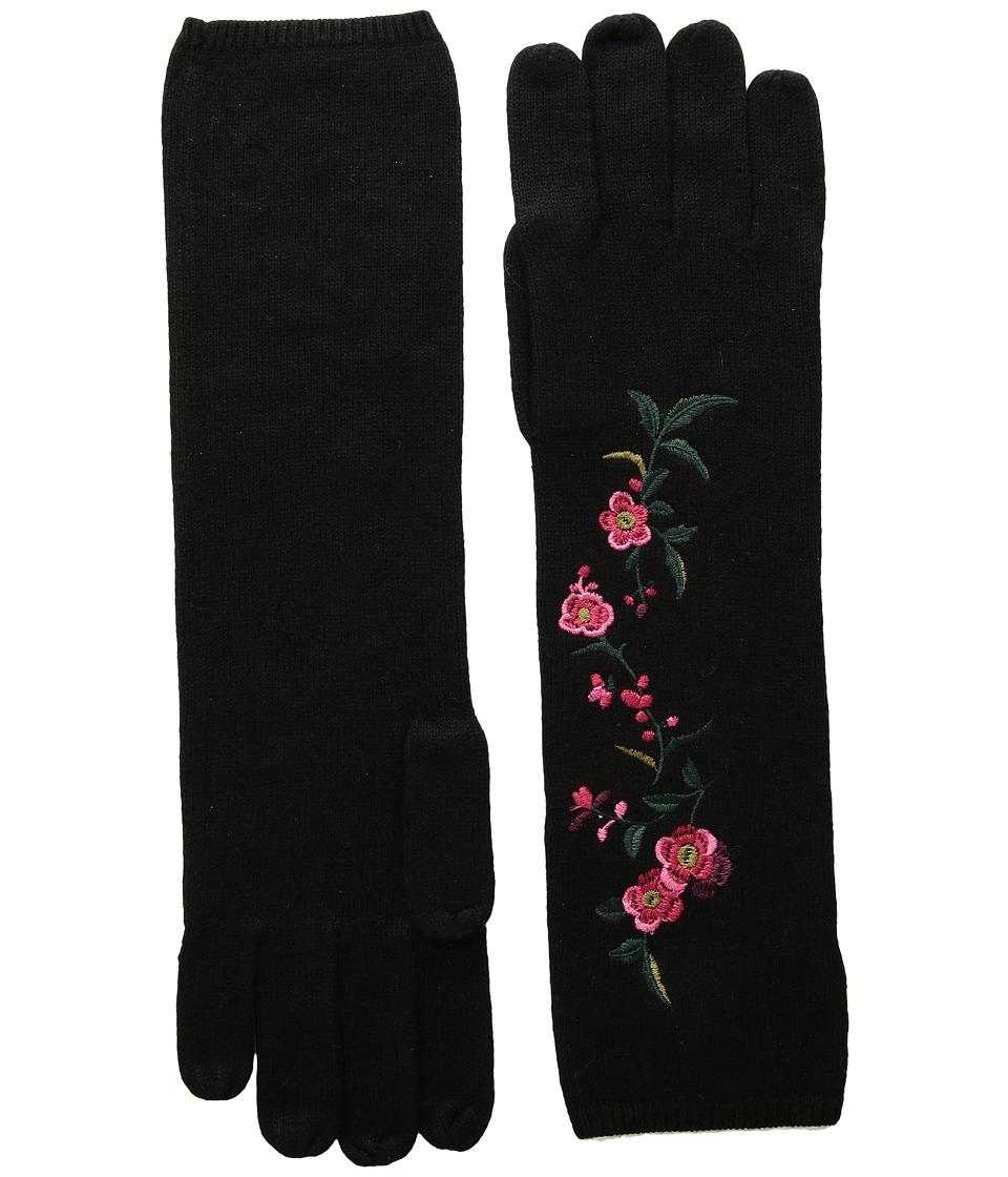 LAUREN Ralph Lauren Chrysanthemum Embroidered Glove (Black Multi) Dress Gloves