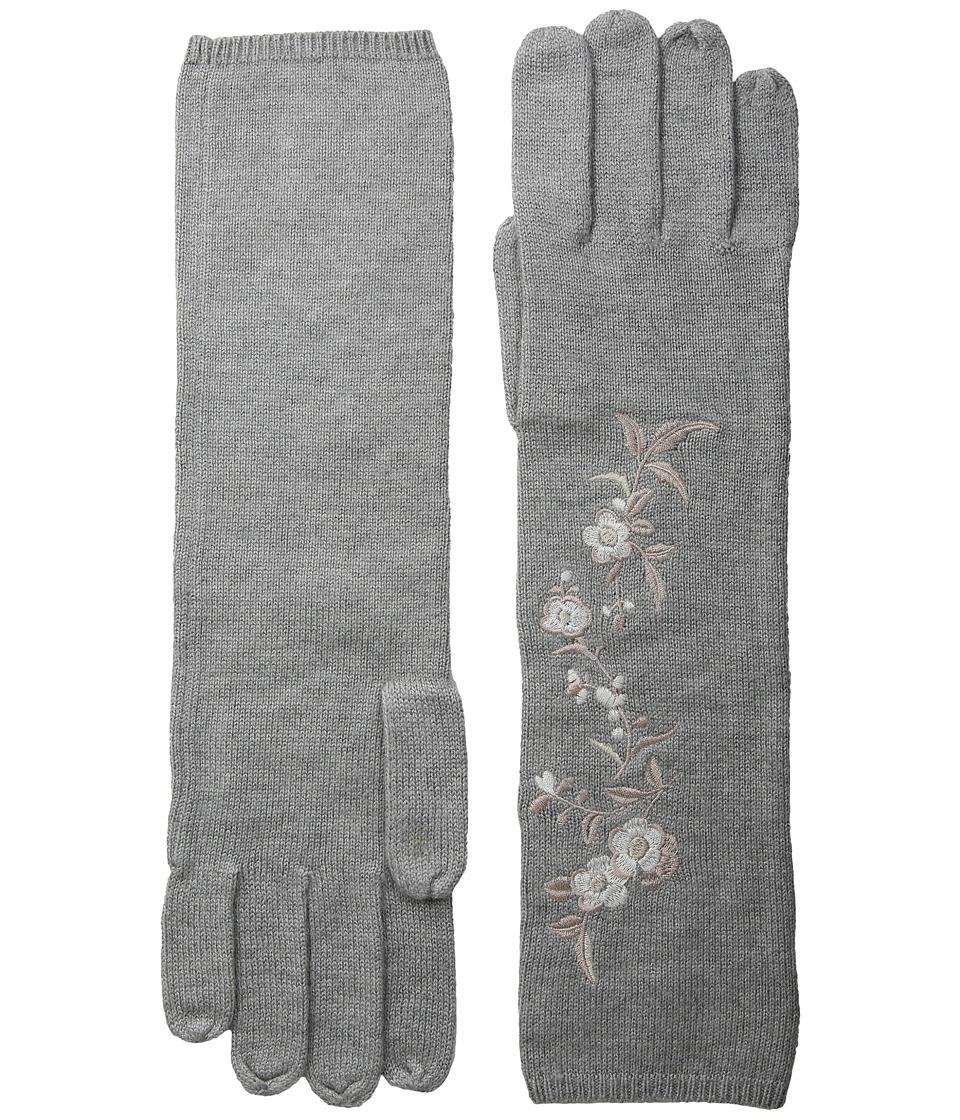 LAUREN Ralph Lauren Chrysanthemum Embroidered Glove (Light Grey Heather) Dress Gloves