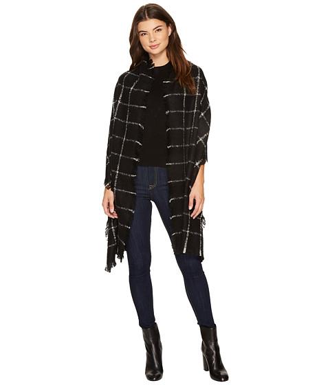LAUREN Ralph Lauren Windowpane Mohair Blanket Wrap - Black/Light Grey
