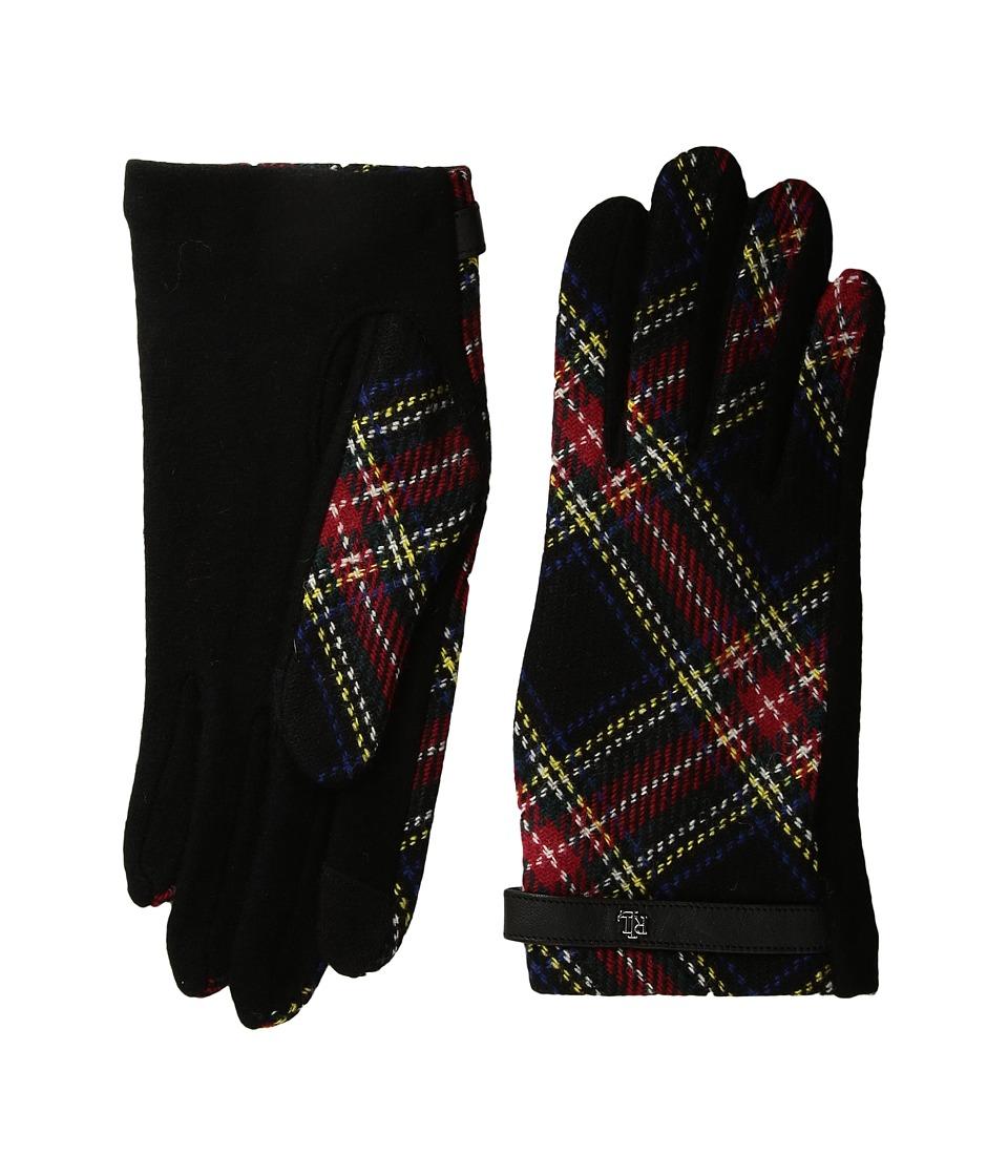 LAUREN Ralph Lauren Tartan RLL Monogram Touch Glove (Black Plaid) Dress Gloves