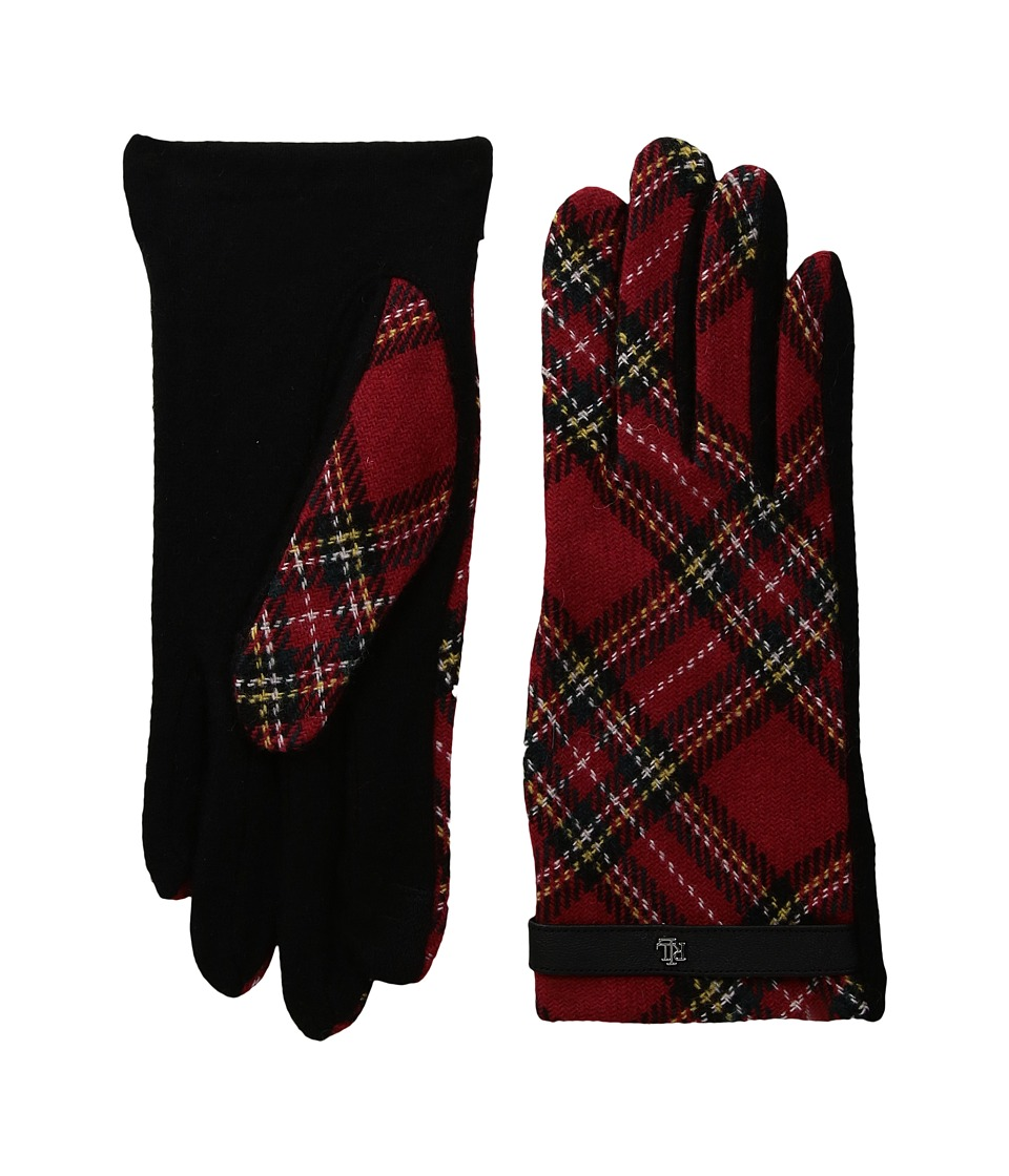 LAUREN Ralph Lauren Tartan RLL Monogram Touch Glove (Red Plaid) Dress Gloves