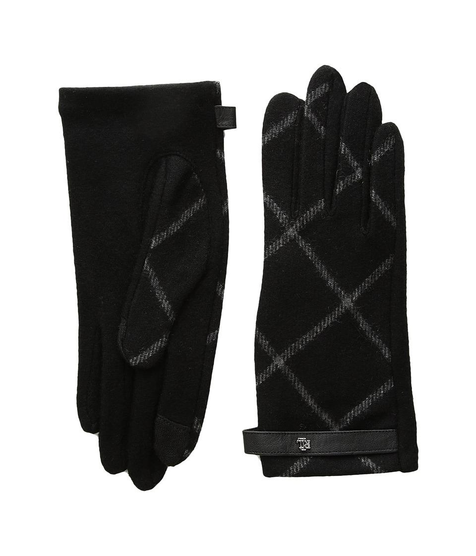 LAUREN Ralph Lauren Plaid RLL Monogram Touch Glove (Black) Dress Gloves
