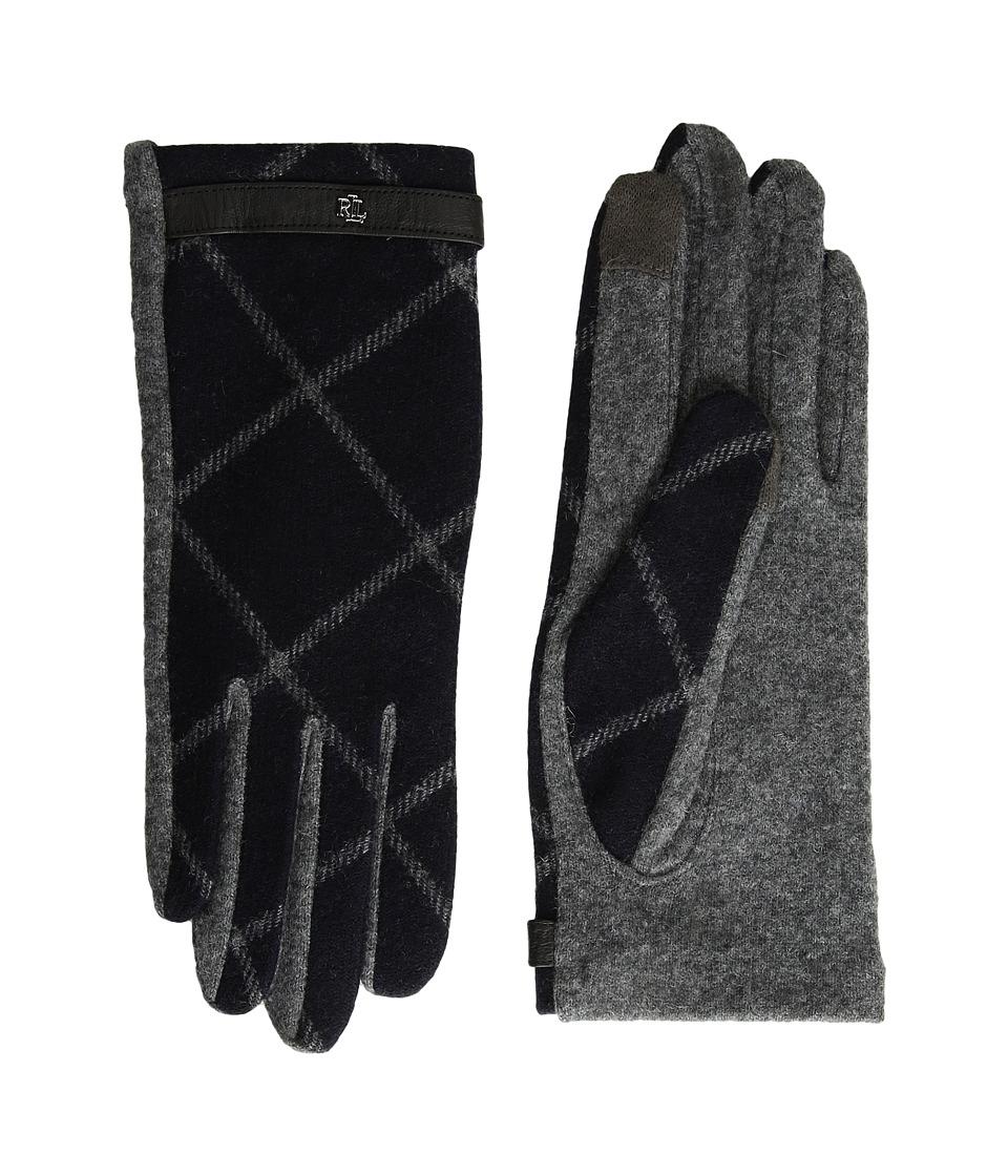 LAUREN Ralph Lauren Plaid RLL Monogram Touch Glove (Navy/Charcoal) Dress Gloves
