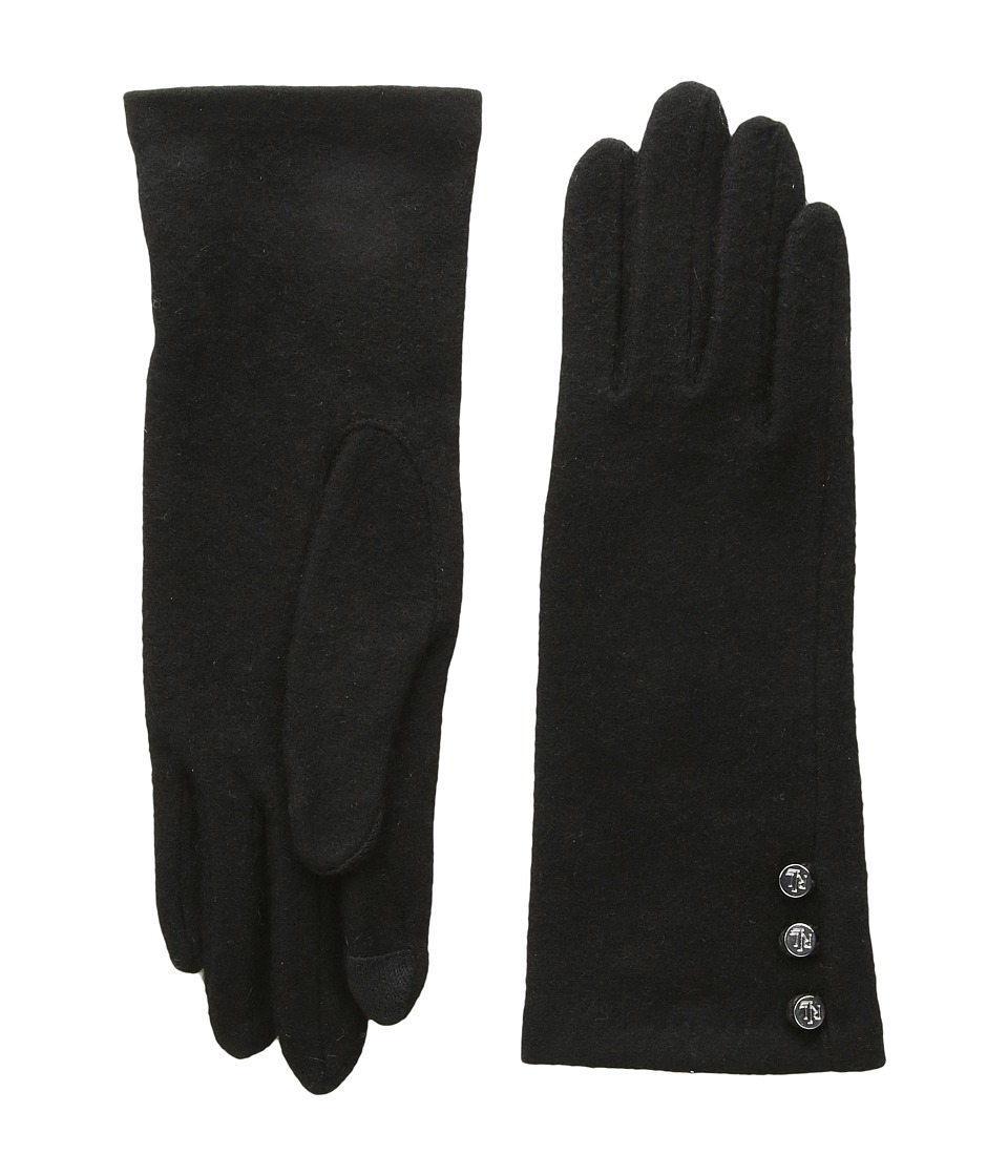 LAUREN Ralph Lauren Three-Button Touch Glove (Black) Dress Gloves