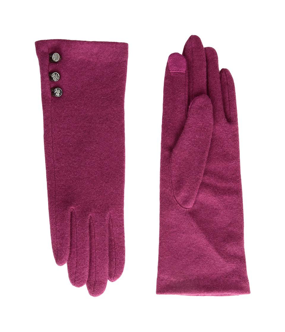 LAUREN Ralph Lauren Three-Button Touch Glove (Dark Raspberry) Dress Gloves