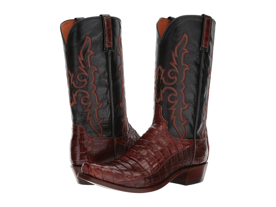 Lucchese KD1011.73 (Rust Belly Caiman Tail/Black) Cowboy Boots