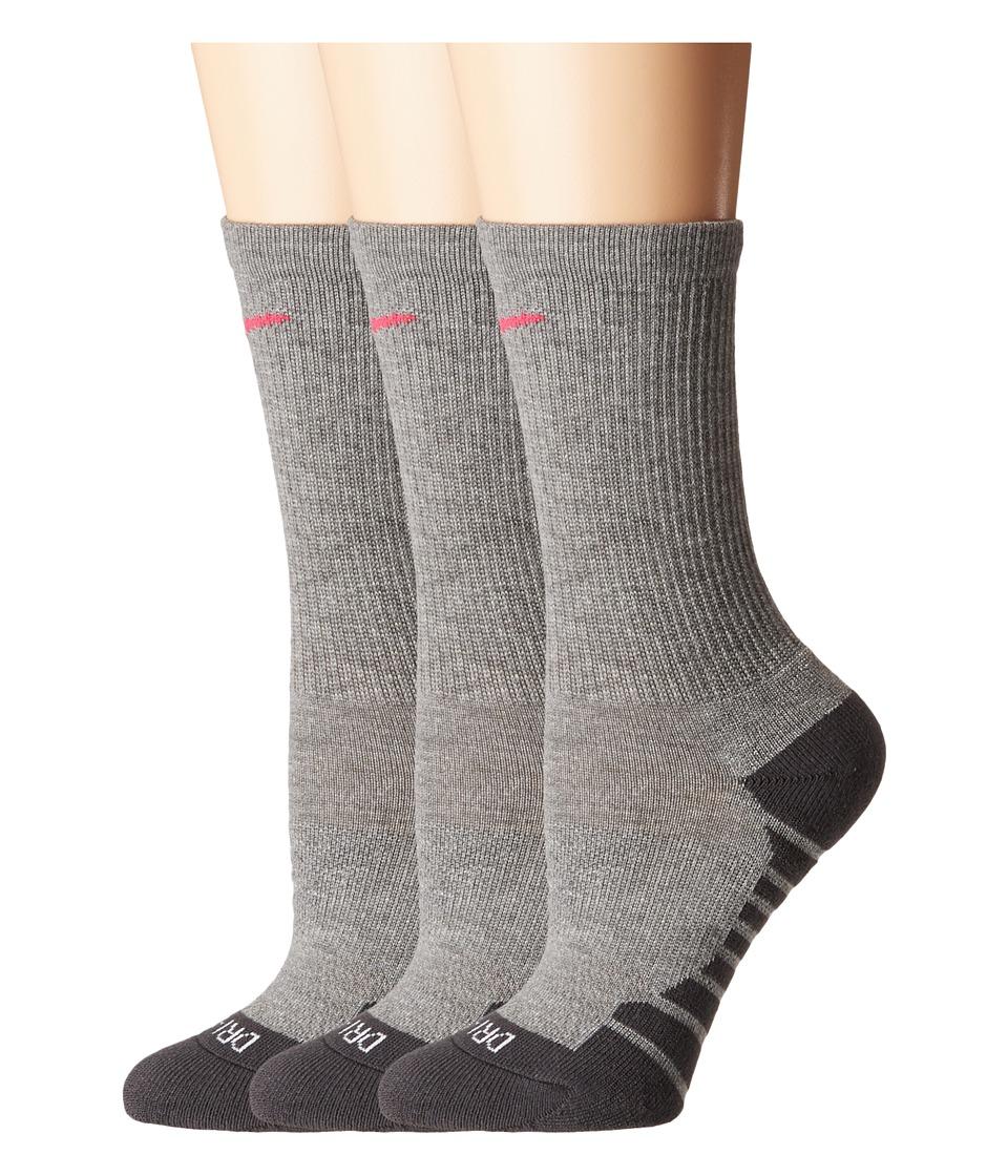 Nike - Dry Cushion Crew Training Socks 3-Pair Pack (Carbon Heather/Anthracite/Vivid Pink) Womens Crew Cut Socks Shoes