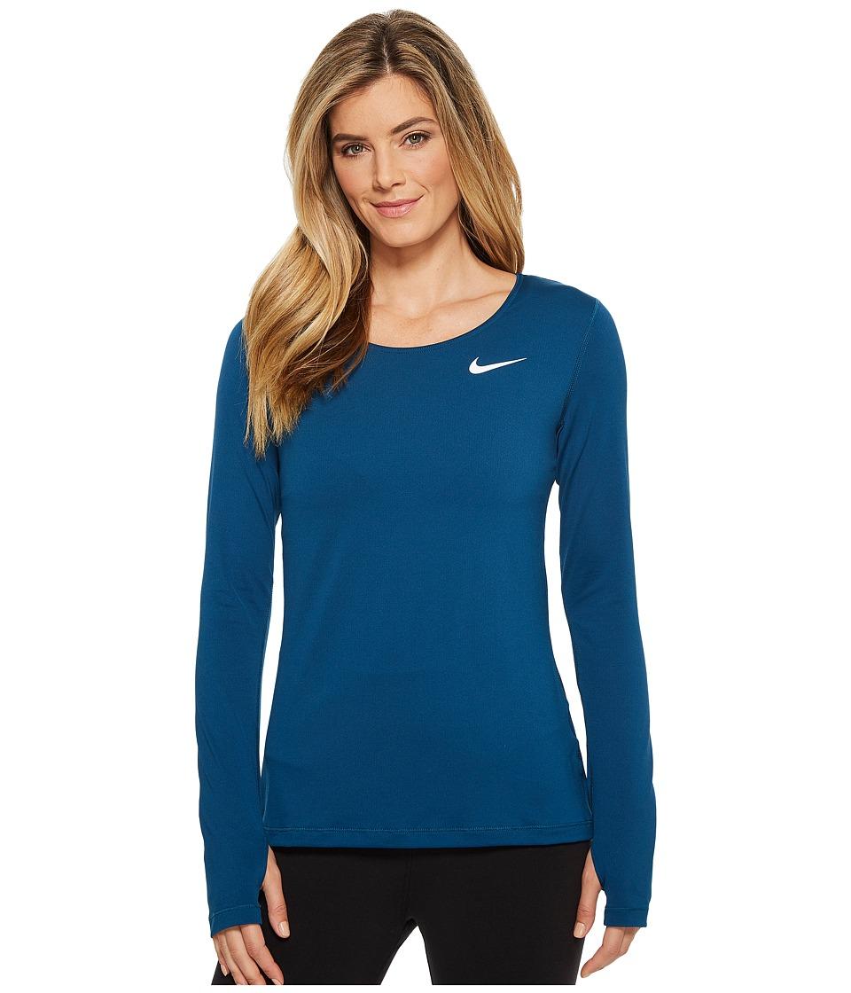 Nike Pro Mesh Long Sleeve Training Top (Blue Force/White) Women