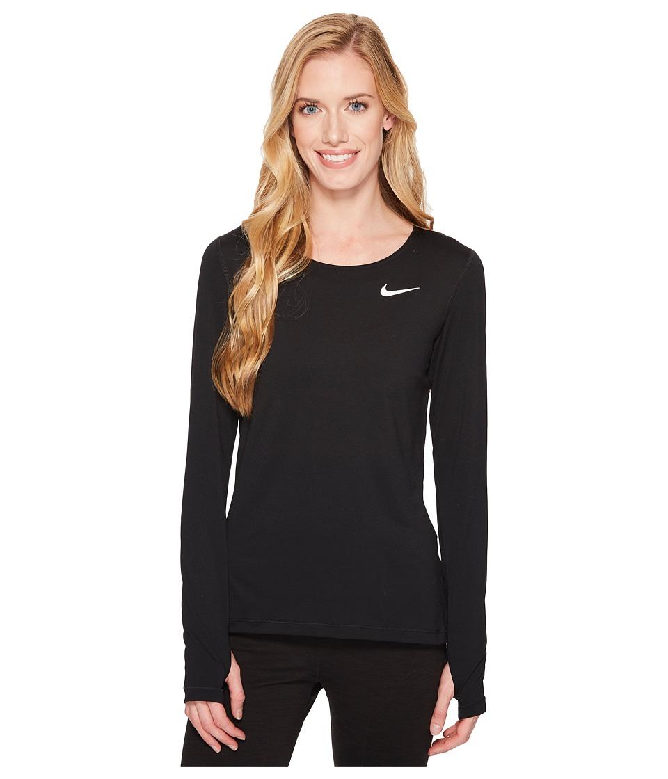 Nike Pro Mesh Long Sleeve Training Top (Black/White) Women