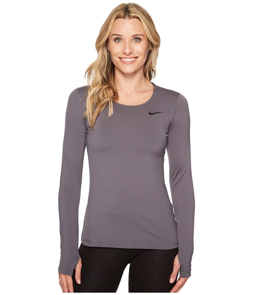 Nike Pro Mesh Long Sleeve Training Top (Dark Grey/Black) Women