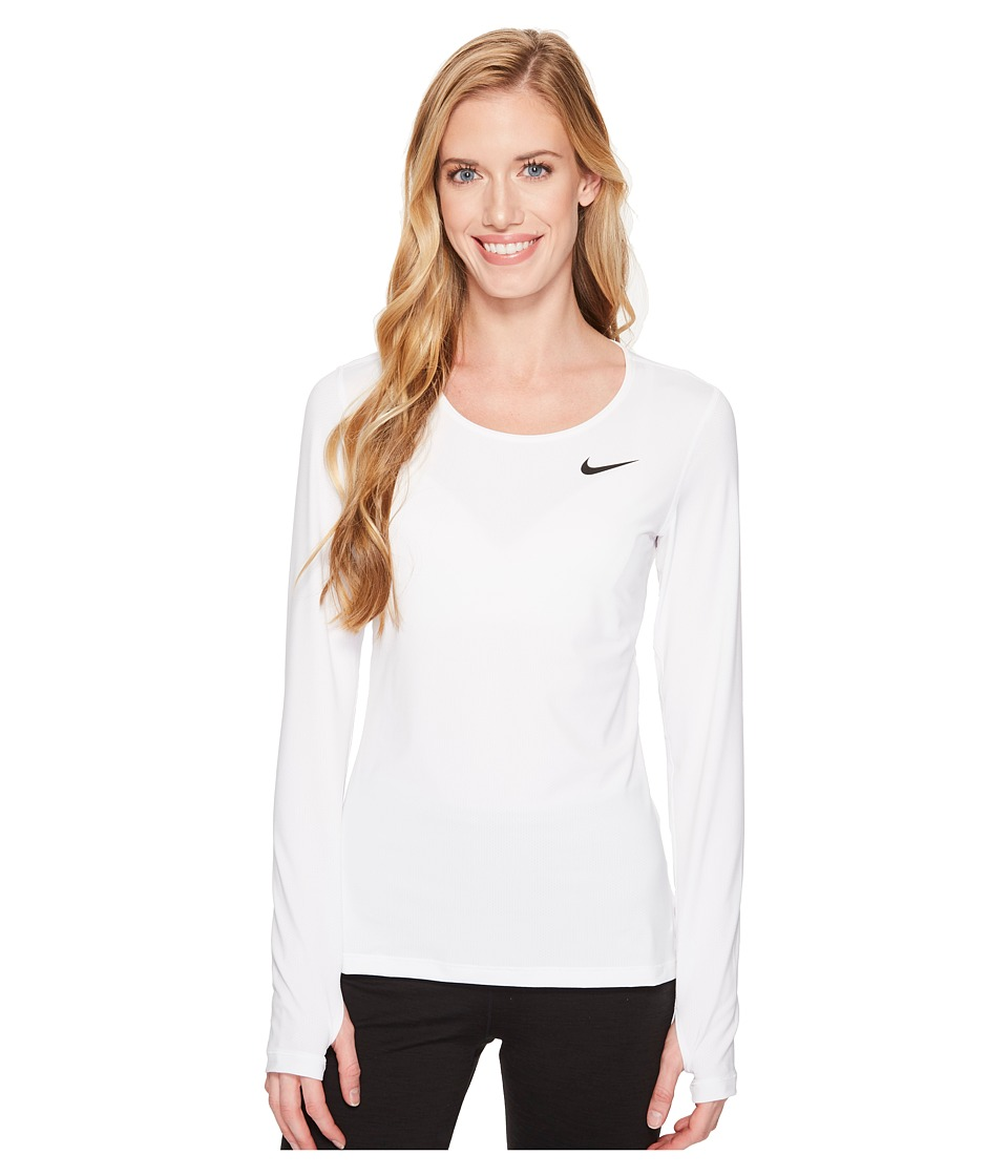Nike Pro Mesh Long Sleeve Training Top (White/Black) Women