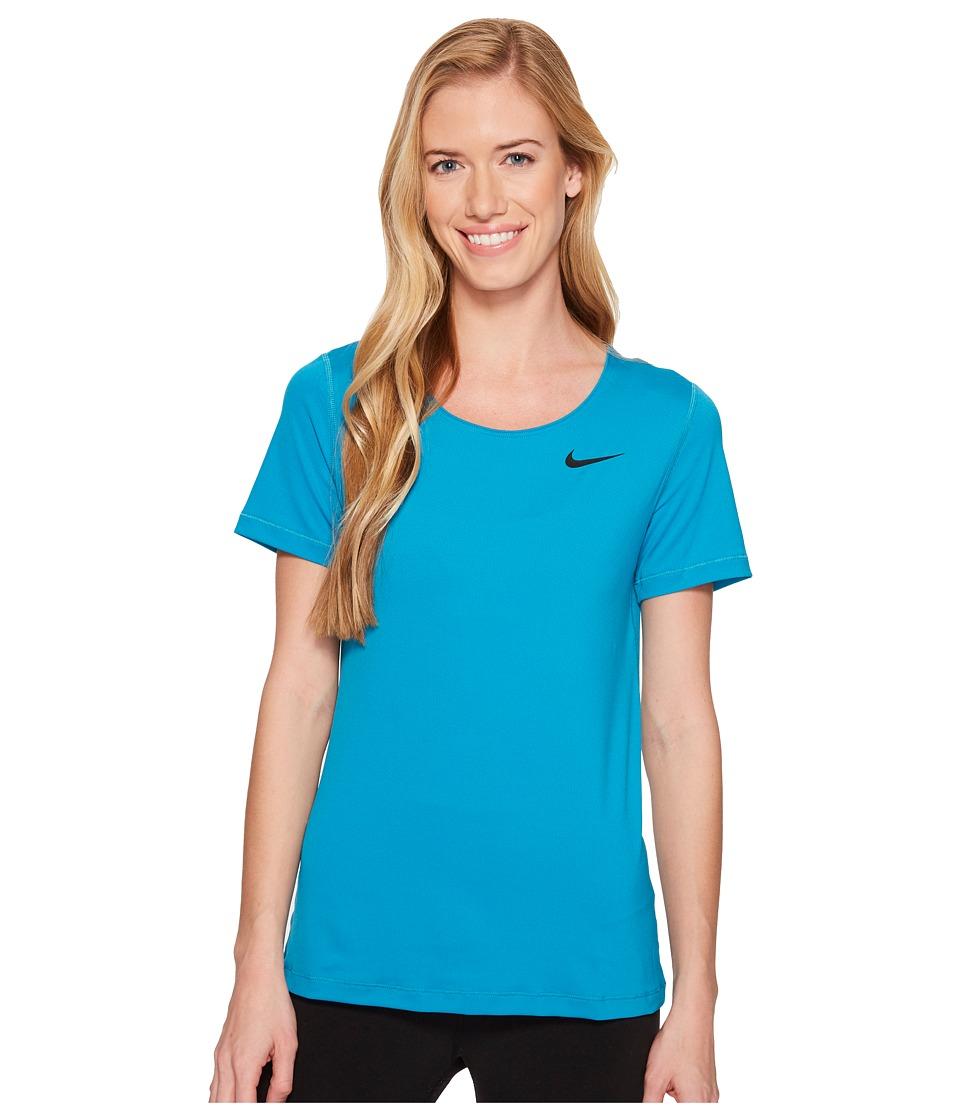Nike Pro Mesh Short Sleeve Top (Neo Turquoise/Black) Women