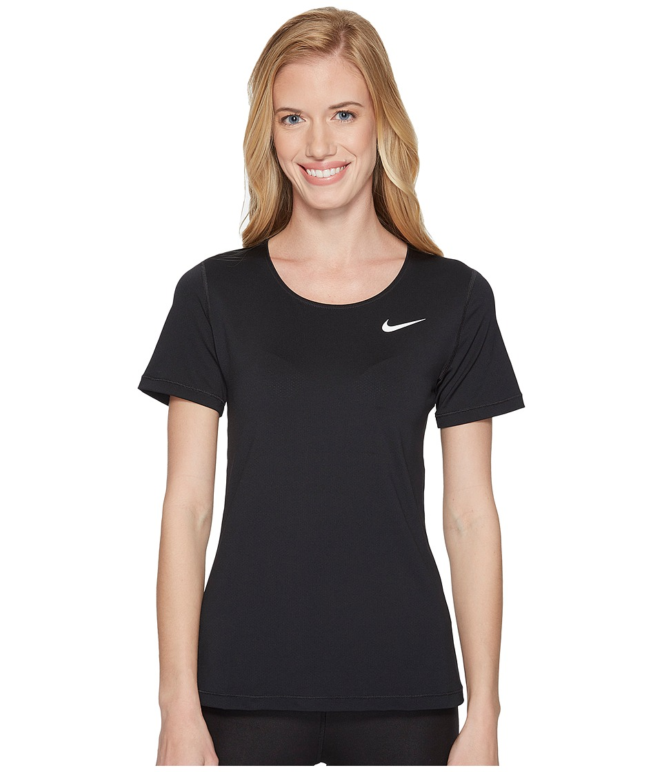 Nike Pro Mesh Short Sleeve Top (Black/White) Women