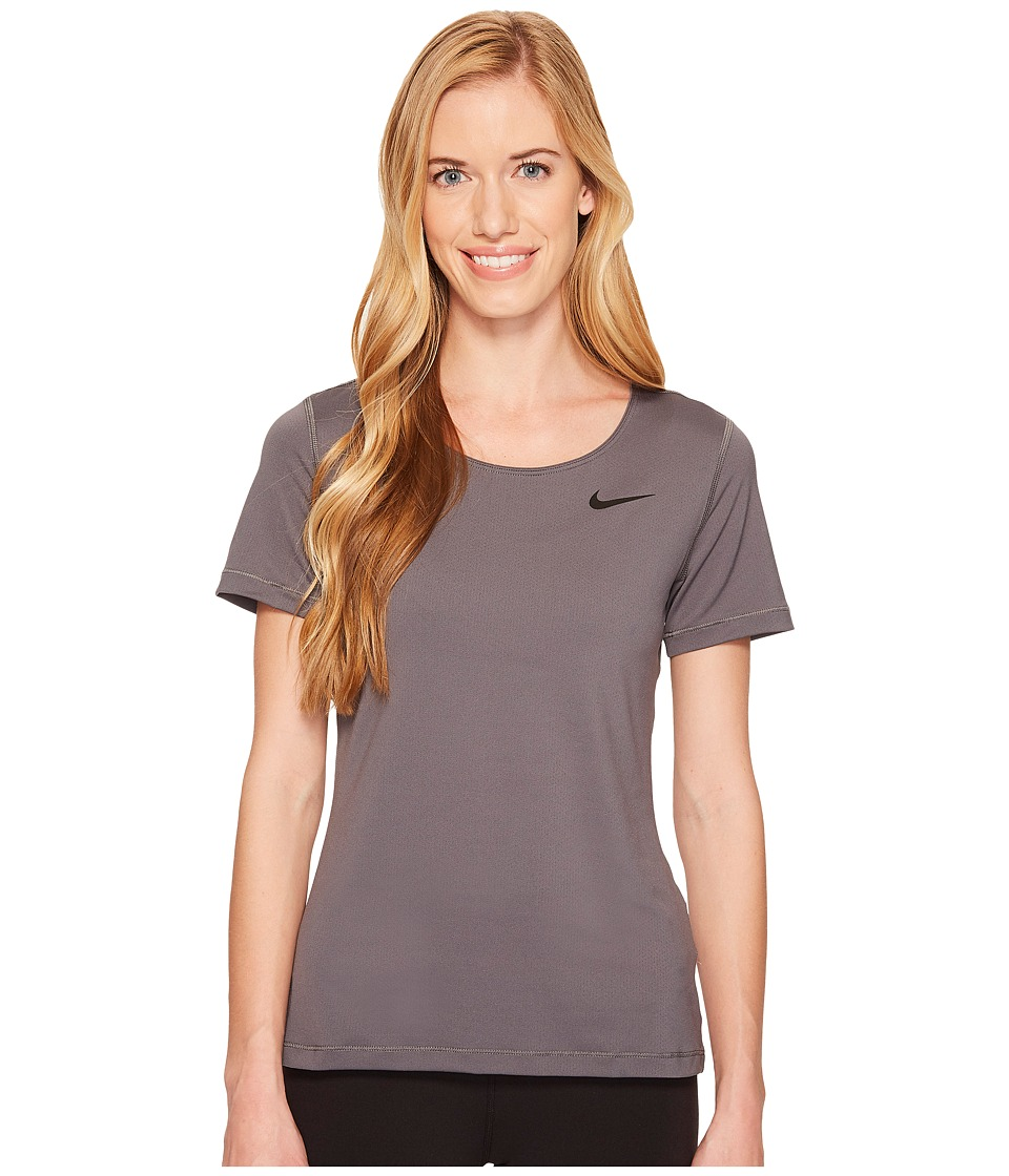Nike Pro Mesh Short Sleeve Top (Dark Grey/Black) Women