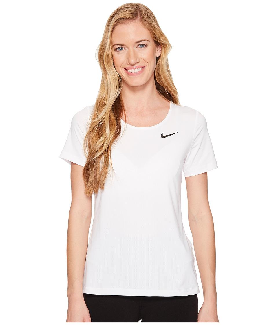 Nike Pro Mesh Short Sleeve Top (White/Black) Women
