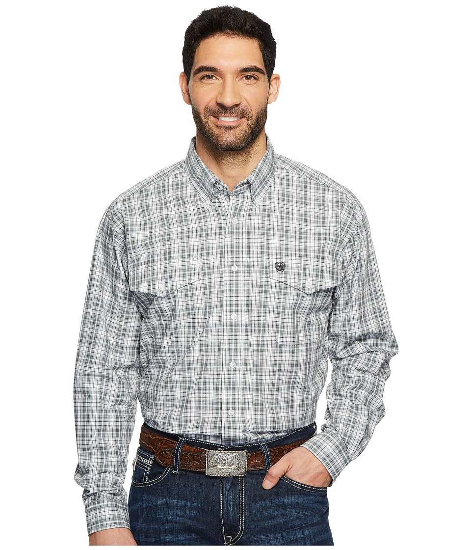 CINCH Long Sleeve Plain Weave Plaid Double Pocket (White) Men's Long Sleeve Button Up