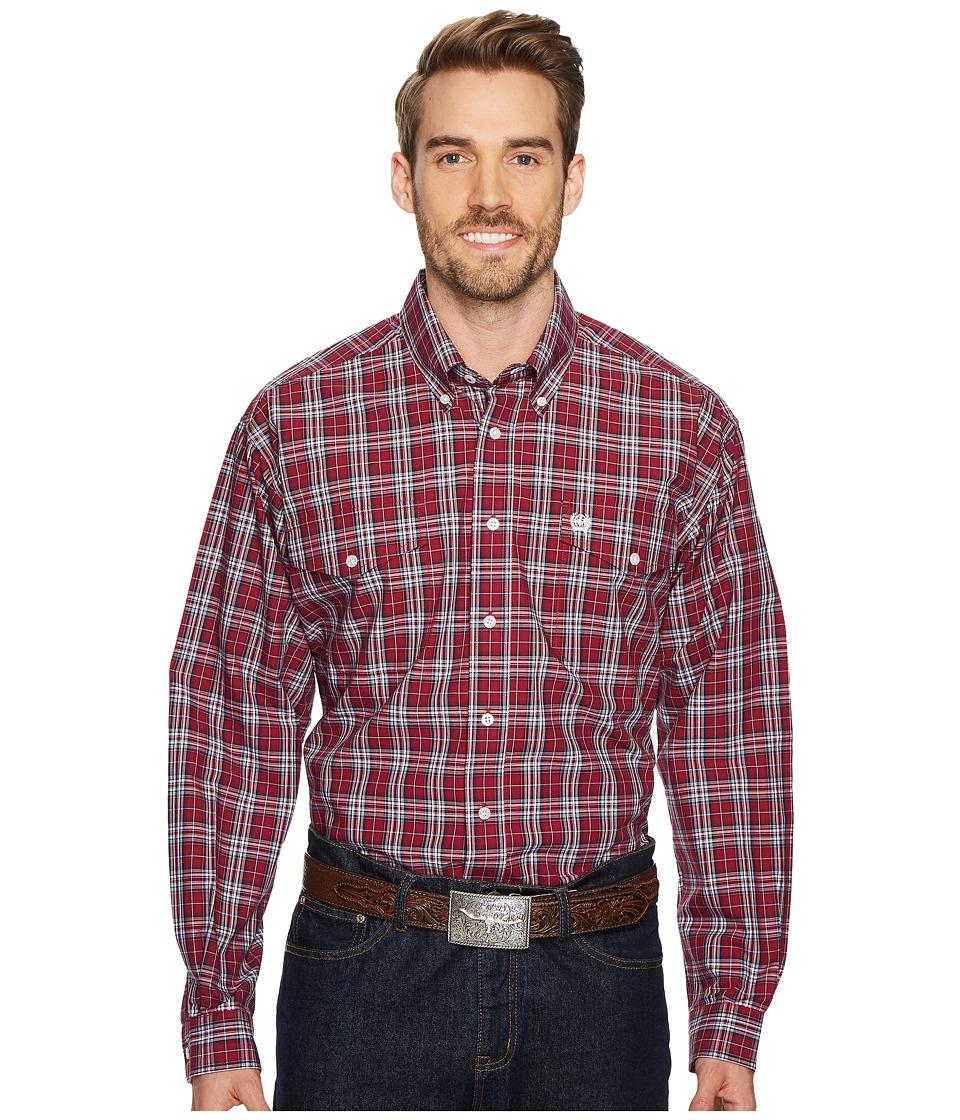 CINCH Long Sleeve Plain Weave Plaid Double Pocket (Cranberry) Men's Long Sleeve Button Up