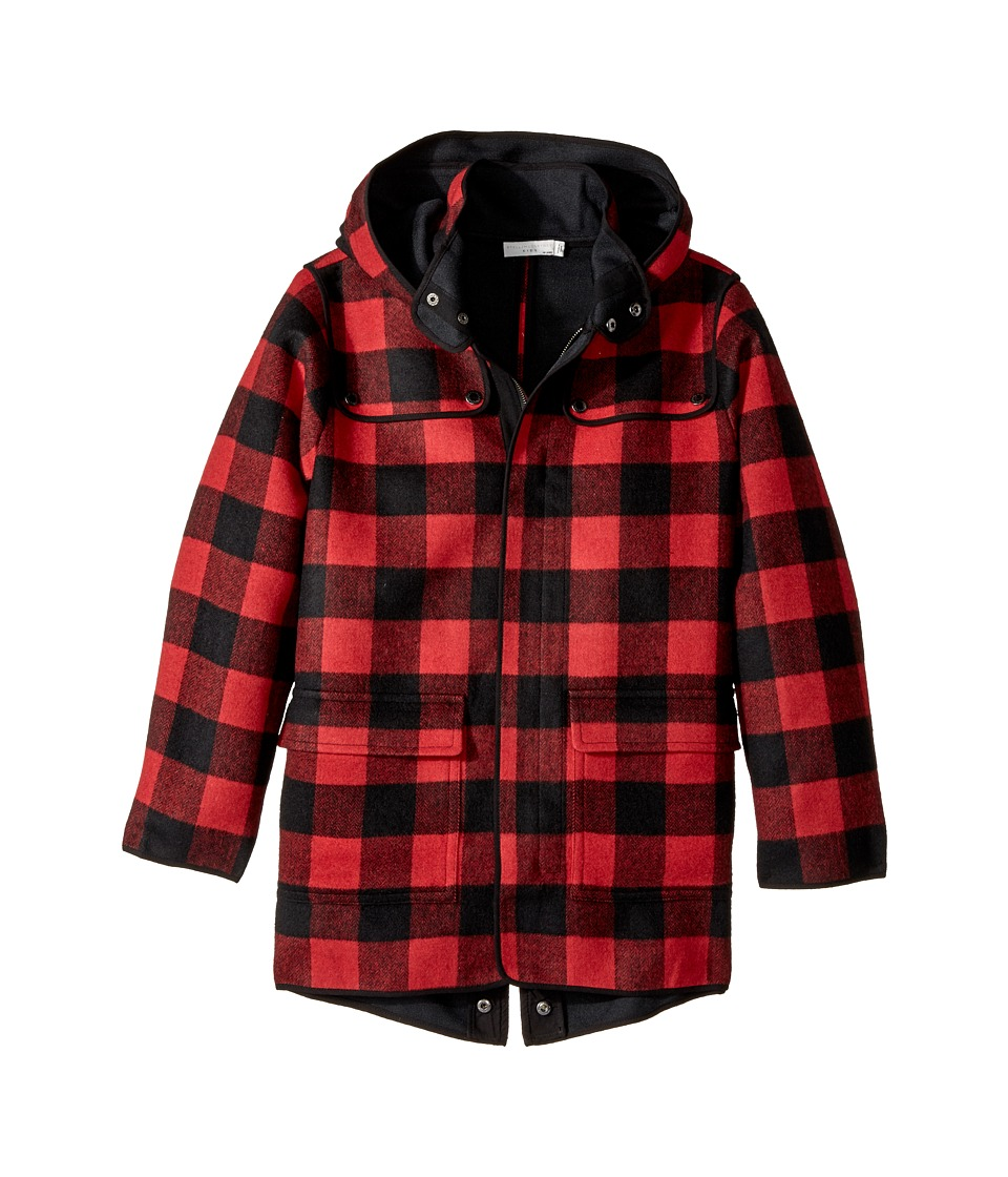 Stella McCartney Kids - Beet Checkered Wool Coat w/ Detac...