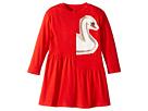 Stella McCartney Kids Zelma Drop Waist Dress w/ Printed Swan (Toddler/Little Kids/Big Kids)