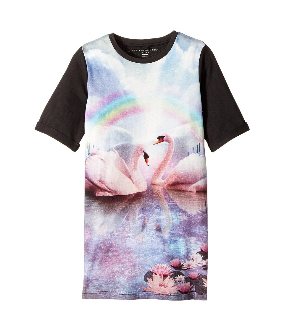 Stella McCartney Kids - Hepsie Rainbow and Swan Jersey Dress (Toddler/Little Kids/Big Kids) (Black) Girls Dress